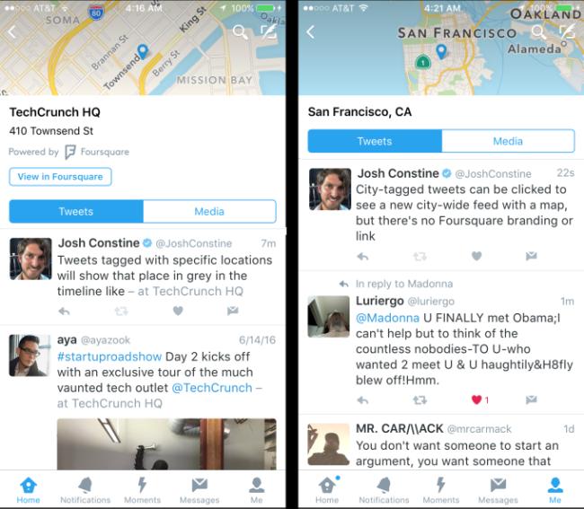 pantallas twitter con mensajes geolocalizados