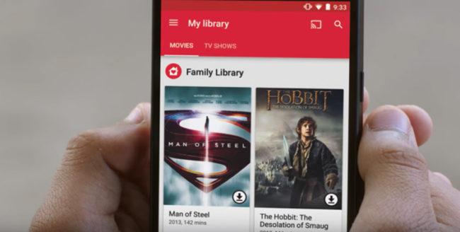 Apartado Famiy Library en Google Play Movies