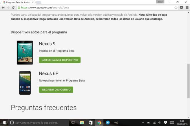 Nexus 6P y Nexus 9 programa de betas