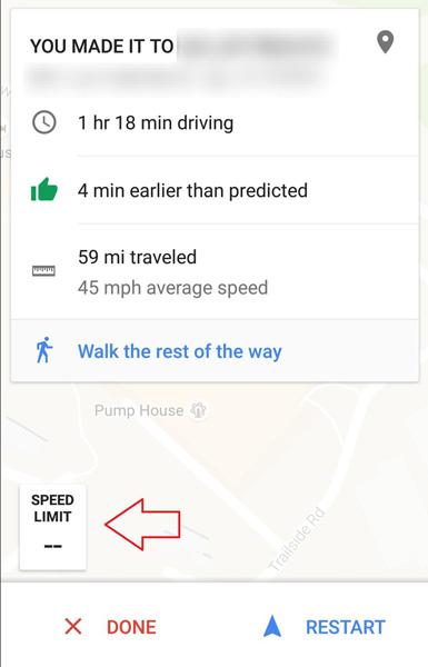 Limite velocidad Google maps