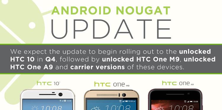 Actualización del HTC 10 con Android 7.0