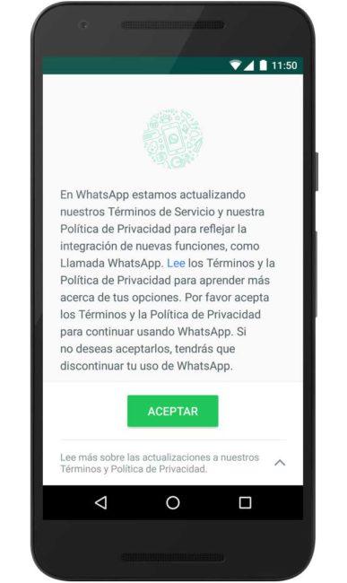 acuerdo de privacidad whatsapp
