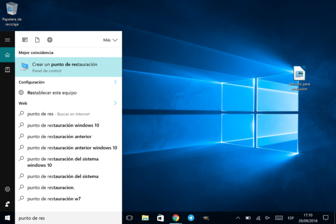Windows 10 Crear punto de restauracion