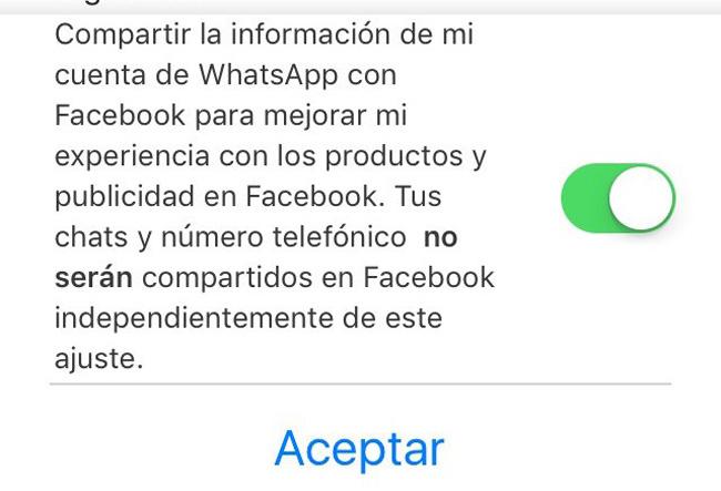 Opción de compartir datos con facebook