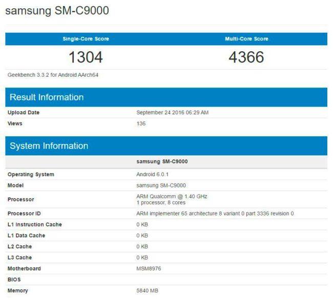 Samsung Galaxy C9 en Geekbench