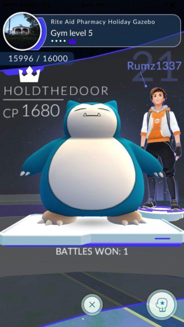 pantalla de un gimnasio defendido por snorlax