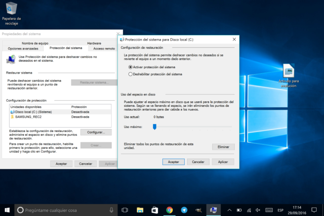 WIndows 10 proteccion del sistema para disco