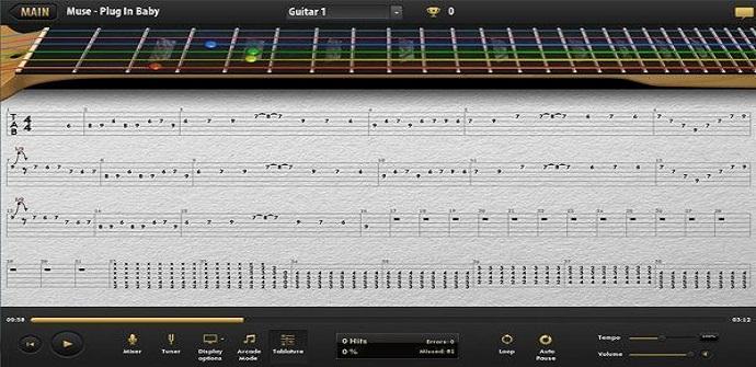 ultimate guitar tabs interfaz
