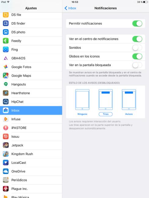 Configurar notificaciones de apps en iOS