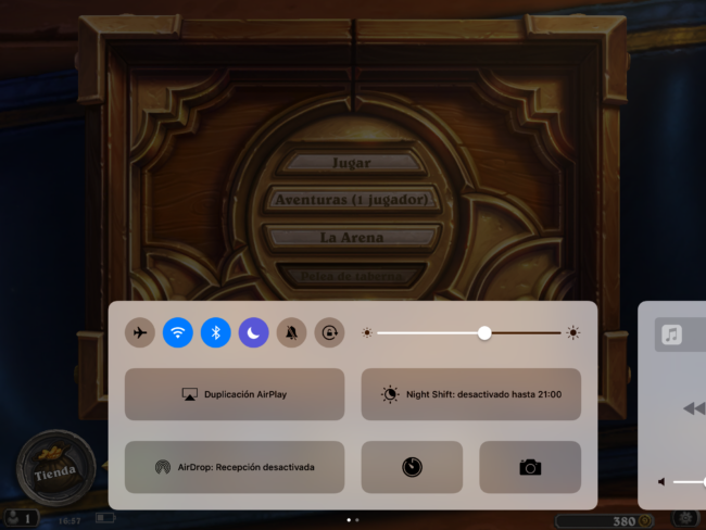 Menú opciones en juego iOS