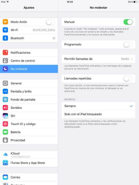 Modo No Molestar iOS