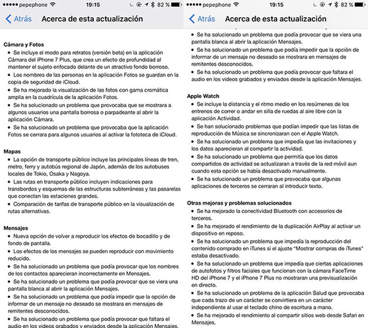 Actualización iOS 10.1