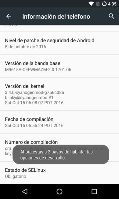 Activar las opciones de desarrollo en Android