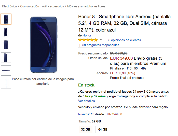 Oferta Honor 8 en Amazon Black Friday