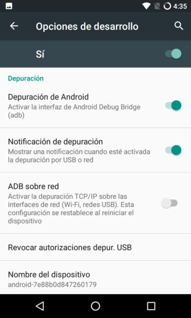Habilitar la depuración de Android para liberar el bootloader