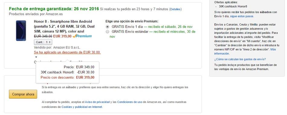 precio del Huawei Honor 8 en Amazon con descuentos