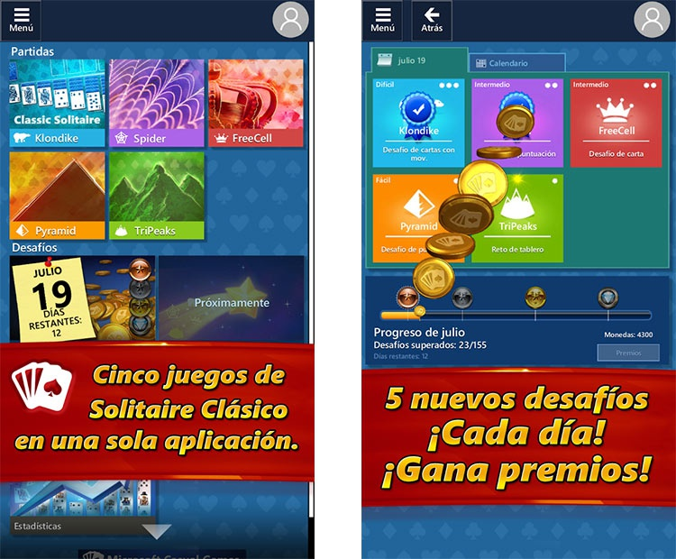 interfaz del juego de cartas Solitario para Android