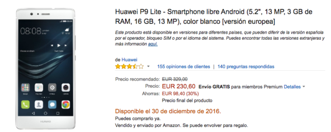 Huawei P9 Lite en oferta en amazon