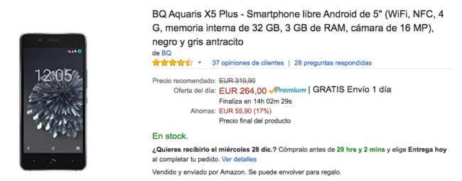 bq aquaris x5 plus oferta