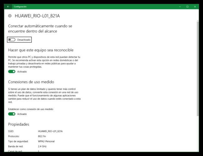 Conexión de uso medido de Windows 10 para Tethering