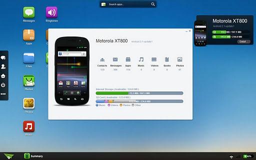 airdroid, pantalla de control del móvil Android