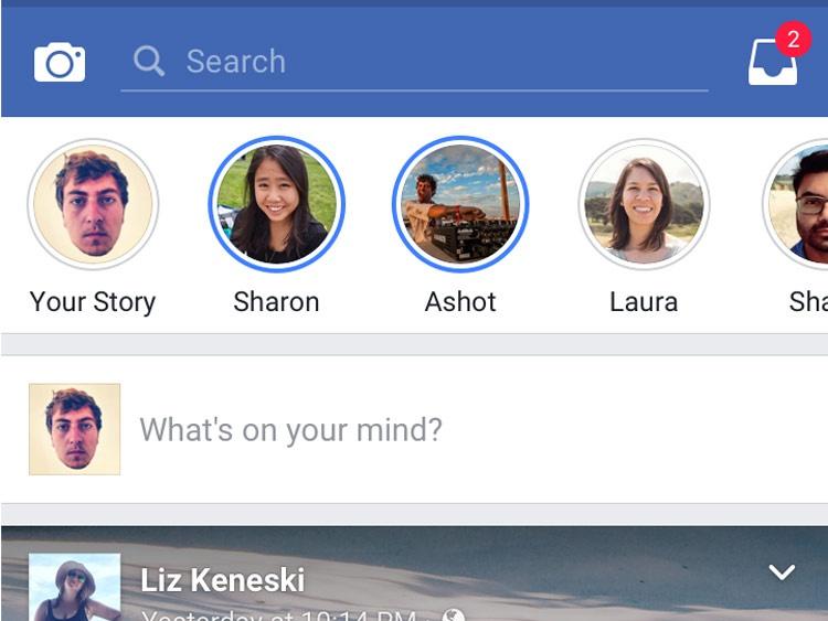 Interfaz de Facebook Stories