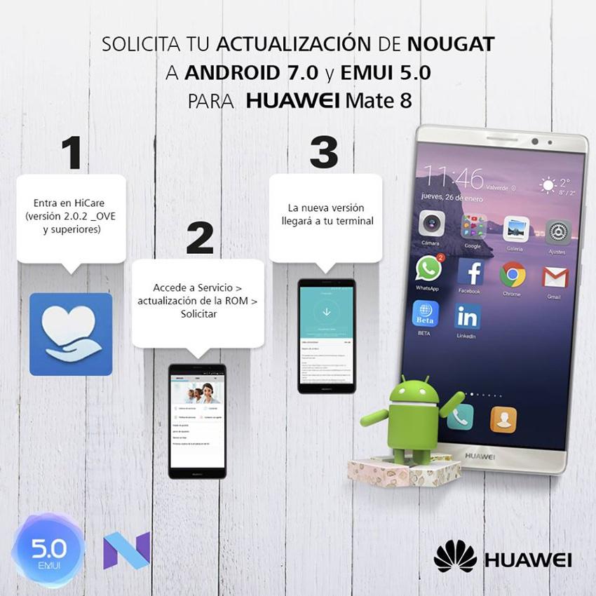 Actualización para el Huawei Mate 8 con Android 7.0 Nougat a través de HiCare