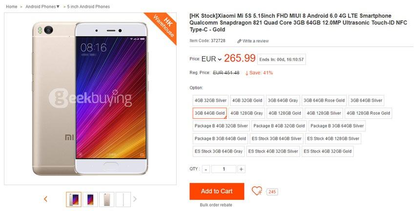 Descuento del 41% en el Xiaomi Mi5S