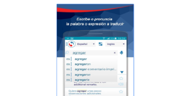 Learn reverse, an app that provides instant translations