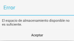 Error espacio disponible Samsung